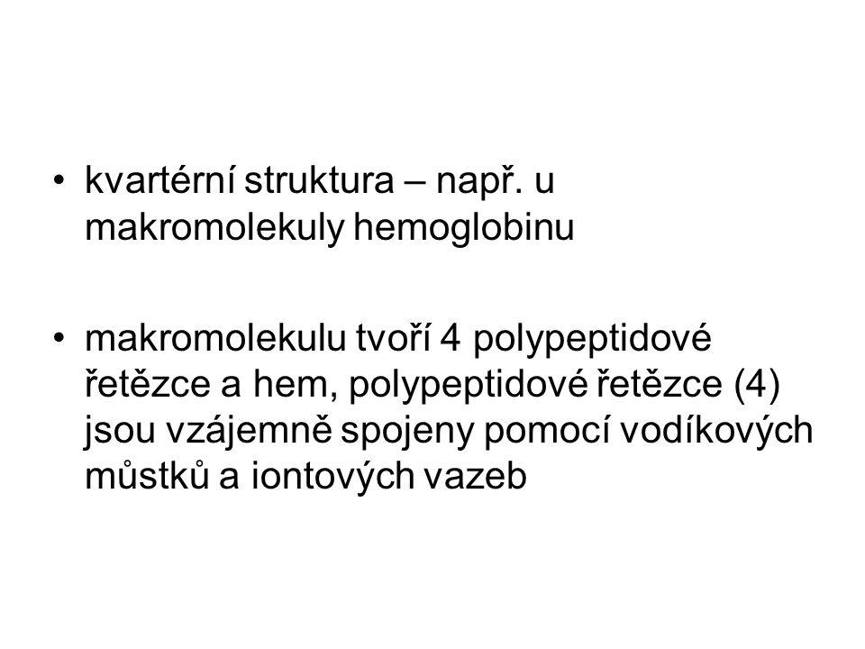 kvartérní struktura – např. u makromolekuly hemoglobinu