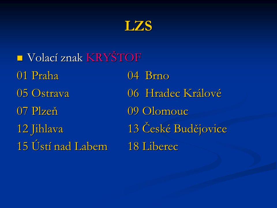 LZS Volací znak KRYŠTOF 01 Praha 04 Brno 05 Ostrava 06 Hradec Králové