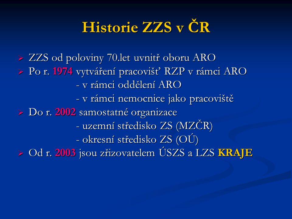 Historie ZZS v ČR ZZS od poloviny 70.let uvnitř oboru ARO