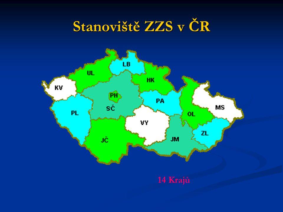 Stanoviště ZZS v ČR 14 Krajů