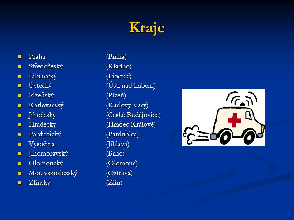 Kraje Praha (Praha) Středočeský (Kladno) Liberecký (Liberec)