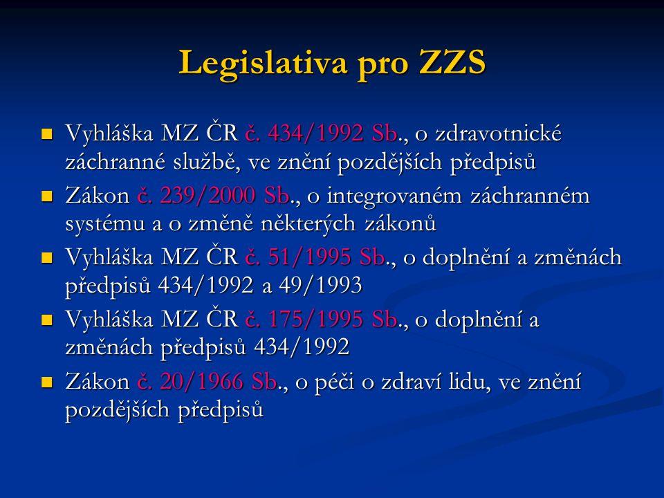 Legislativa pro ZZS Vyhláška MZ ČR č. 434/1992 Sb., o zdravotnické záchranné službě, ve znění pozdějších předpisů.