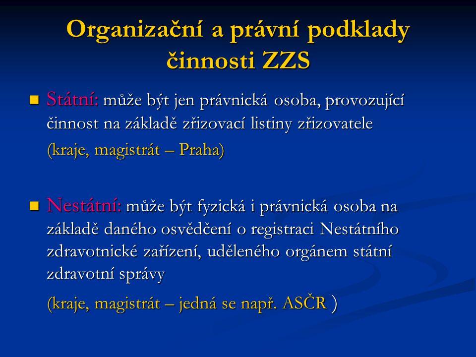 Organizační a právní podklady činnosti ZZS