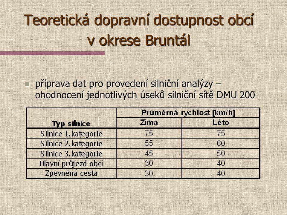 Teoretická dopravní dostupnost obcí v okrese Bruntál