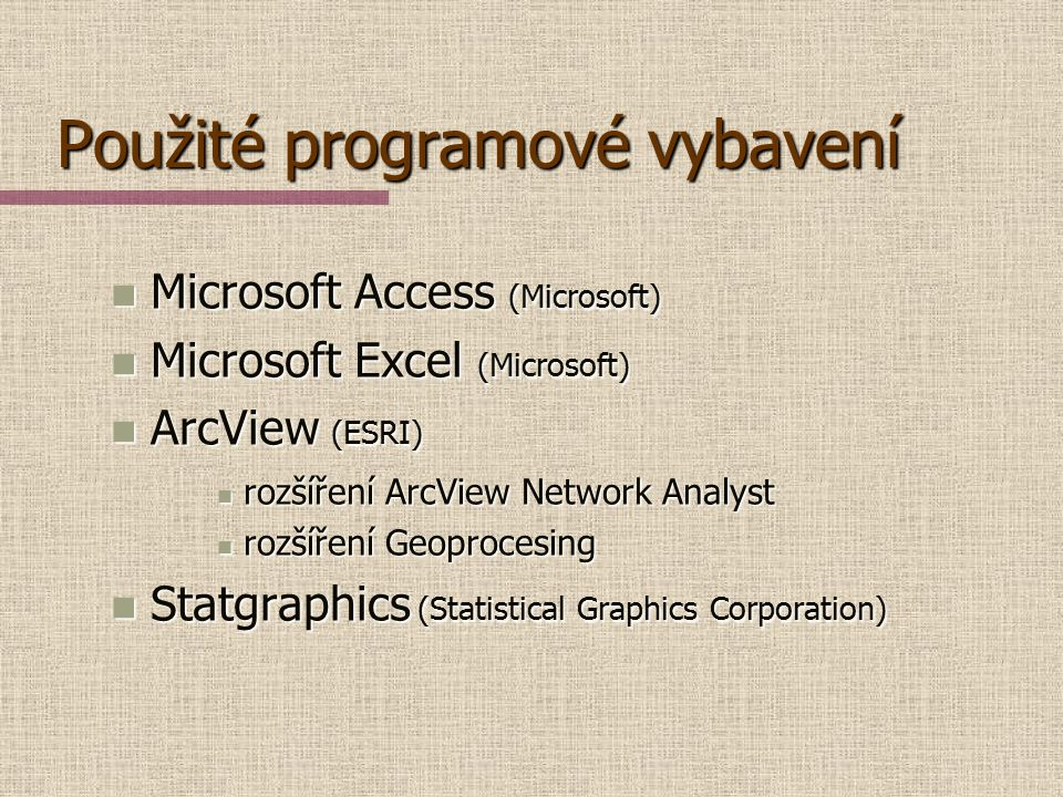 Použité programové vybavení