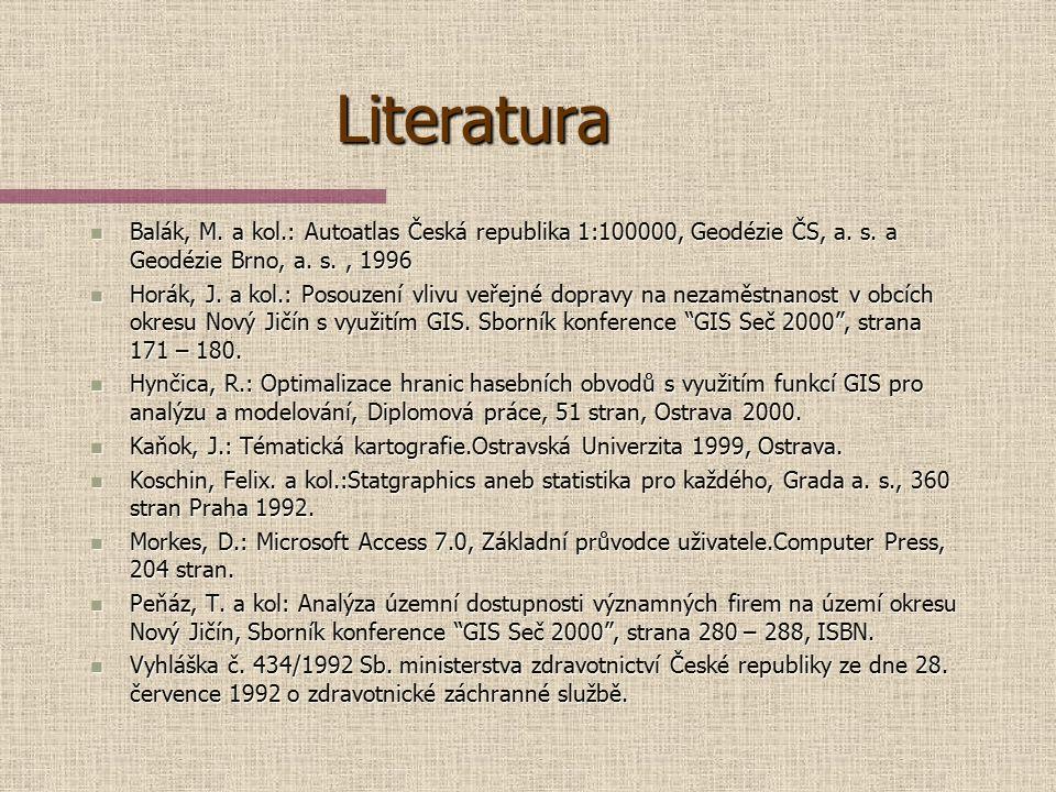 Literatura Balák, M. a kol.: Autoatlas Česká republika 1:100000, Geodézie ČS, a. s. a Geodézie Brno, a. s. , 1996.