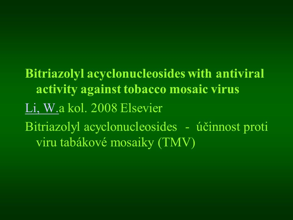Bitriazolyl acyclonucleosides with antiviral activity against tobacco mosaic virus