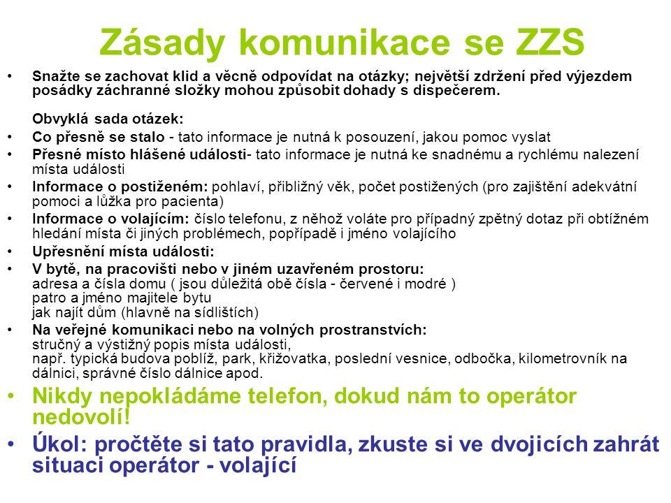Zásady komunikace se ZZS
