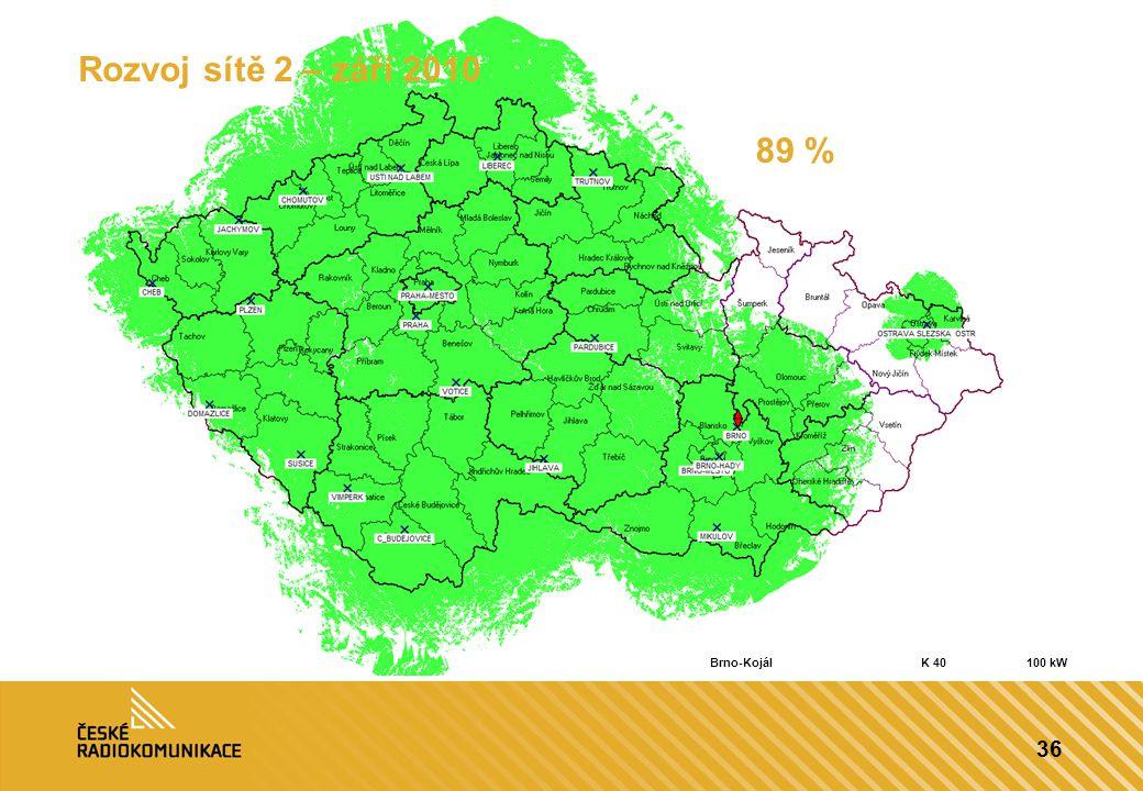 Rozvoj sítě 2 – září 2010 89 % Brno-Kojál K 40 100 kW