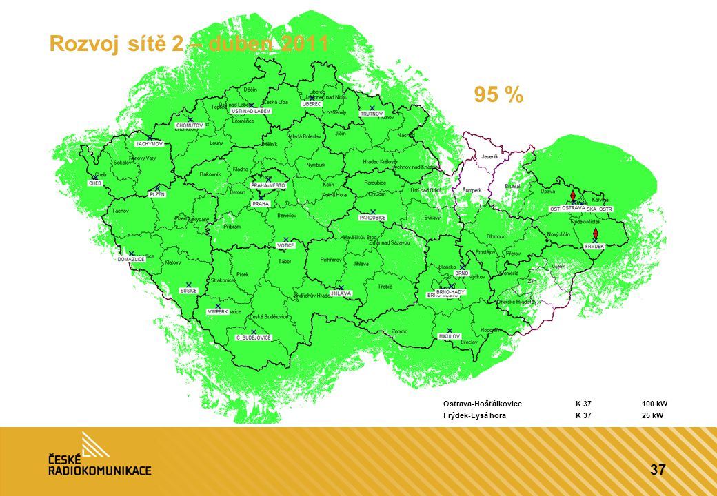 Rozvoj sítě 2 – duben 2011 95 % Ostrava-Hošťálkovice K 37 100 kW