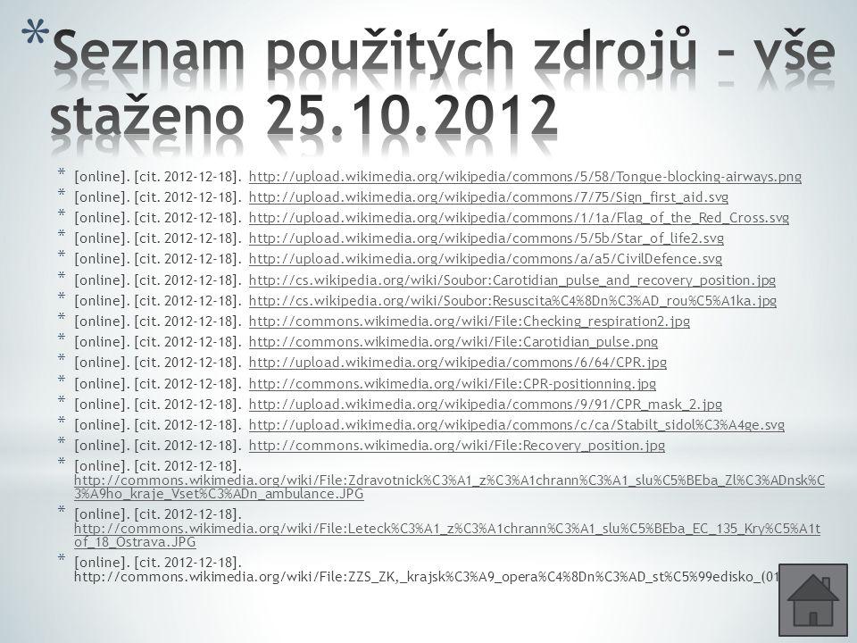 Seznam použitých zdrojů – vše staženo 25.10.2012