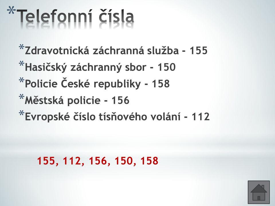 Telefonní čísla Zdravotnická záchranná služba - 155