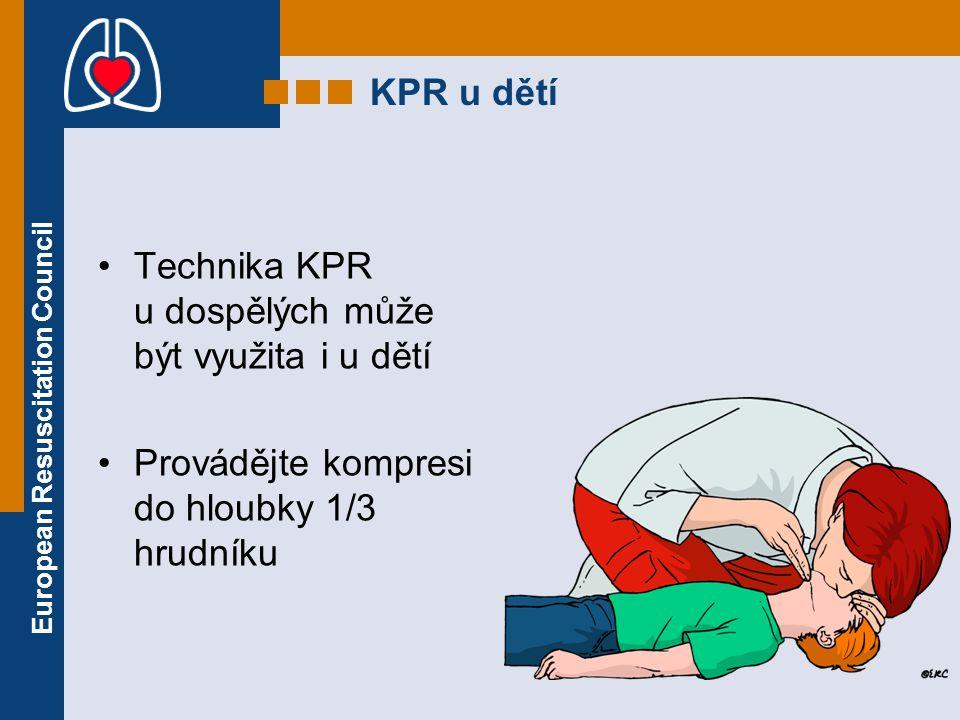 KPR u dětí Technika KPR u dospělých může být využita i u dětí.