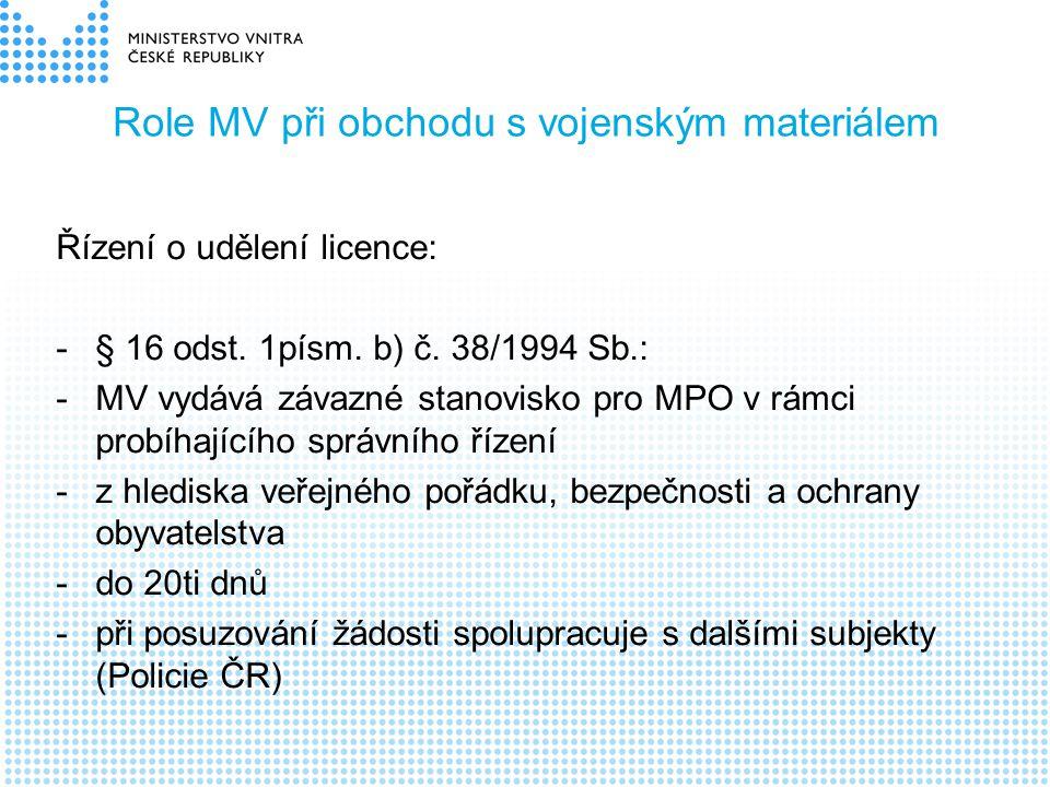 Role MV při obchodu s vojenským materiálem