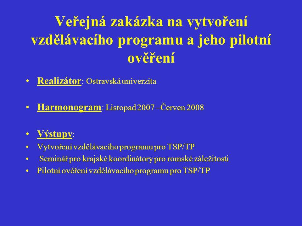 Veřejná zakázka na vytvoření vzdělávacího programu a jeho pilotní ověření