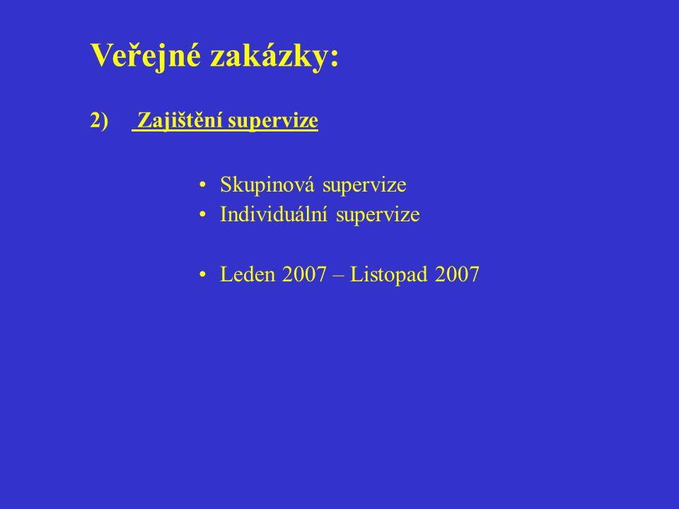 Veřejné zakázky: 2) Zajištění supervize Skupinová supervize