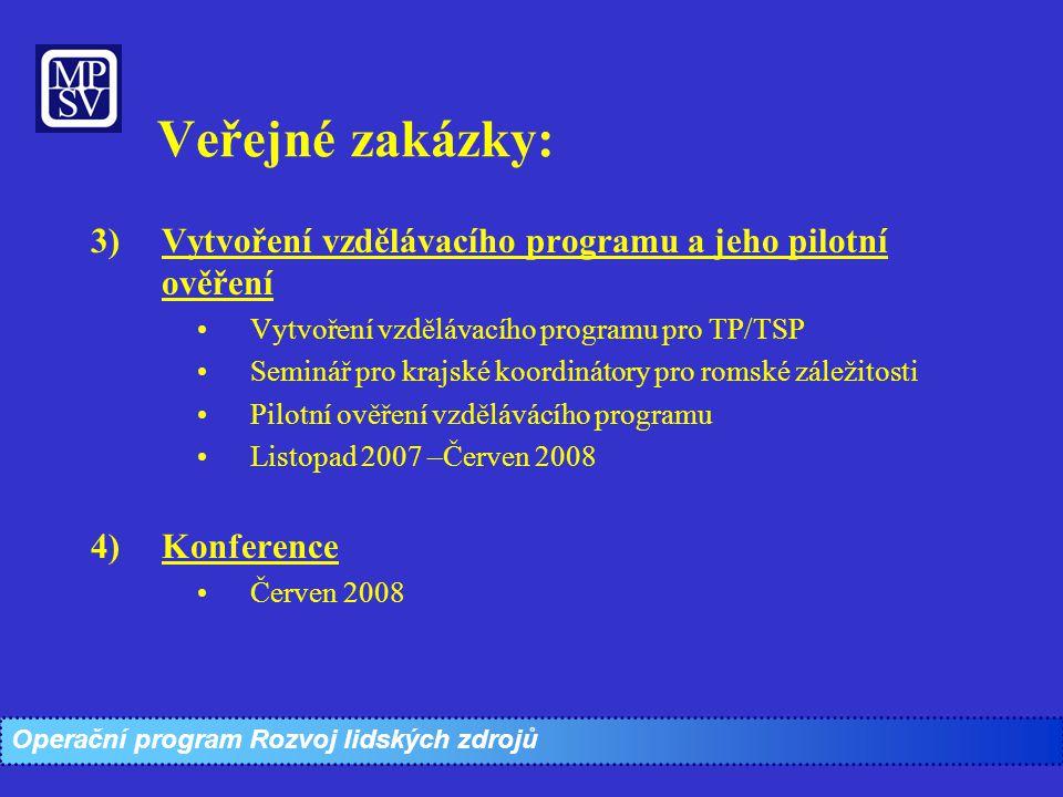 Veřejné zakázky: Vytvoření vzdělávacího programu a jeho pilotní ověření. Vytvoření vzdělávacího programu pro TP/TSP.