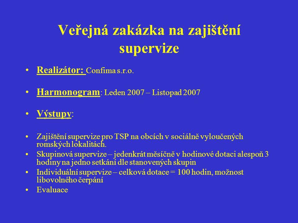 Veřejná zakázka na zajištění supervize
