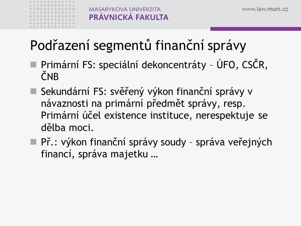 Podřazení segmentů finanční správy