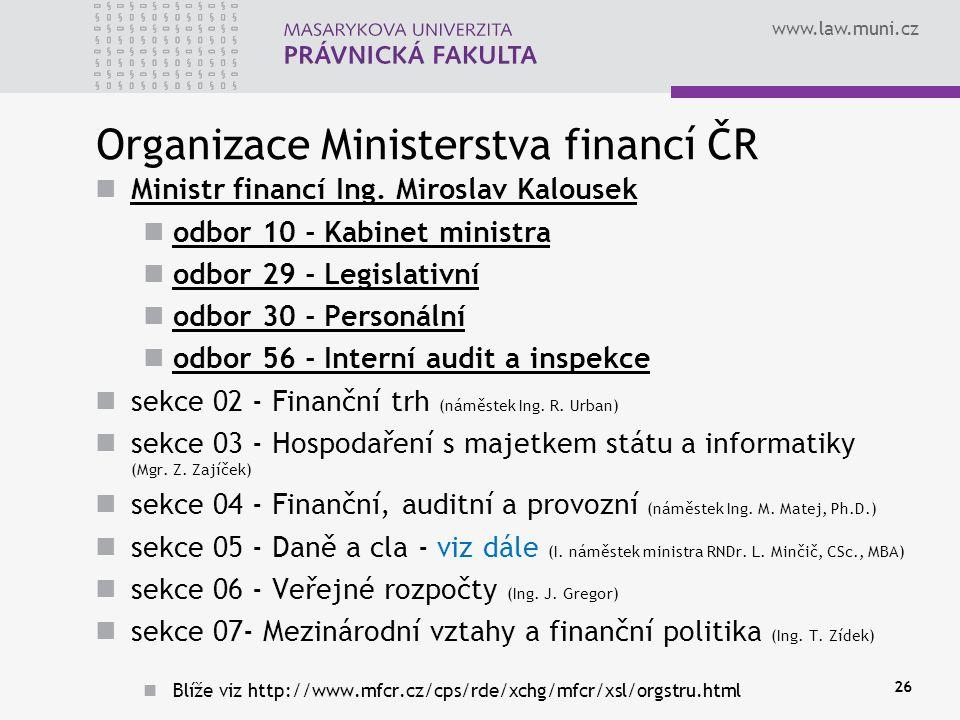 Organizace Ministerstva financí ČR