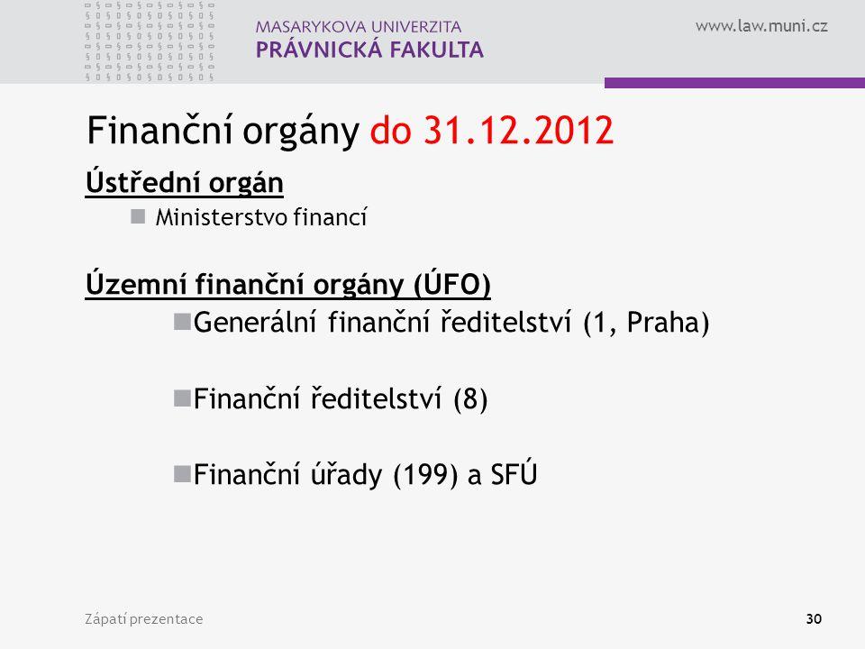 Finanční orgány do 31.12.2012 Ústřední orgán