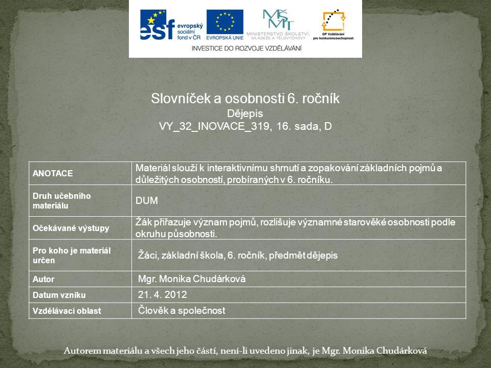 Slovníček a osobnosti 6. ročník