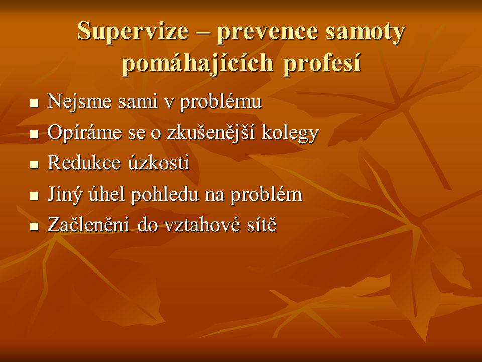 Supervize – prevence samoty pomáhajících profesí