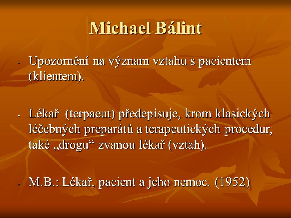 Michael Bálint Upozornění na význam vztahu s pacientem (klientem).