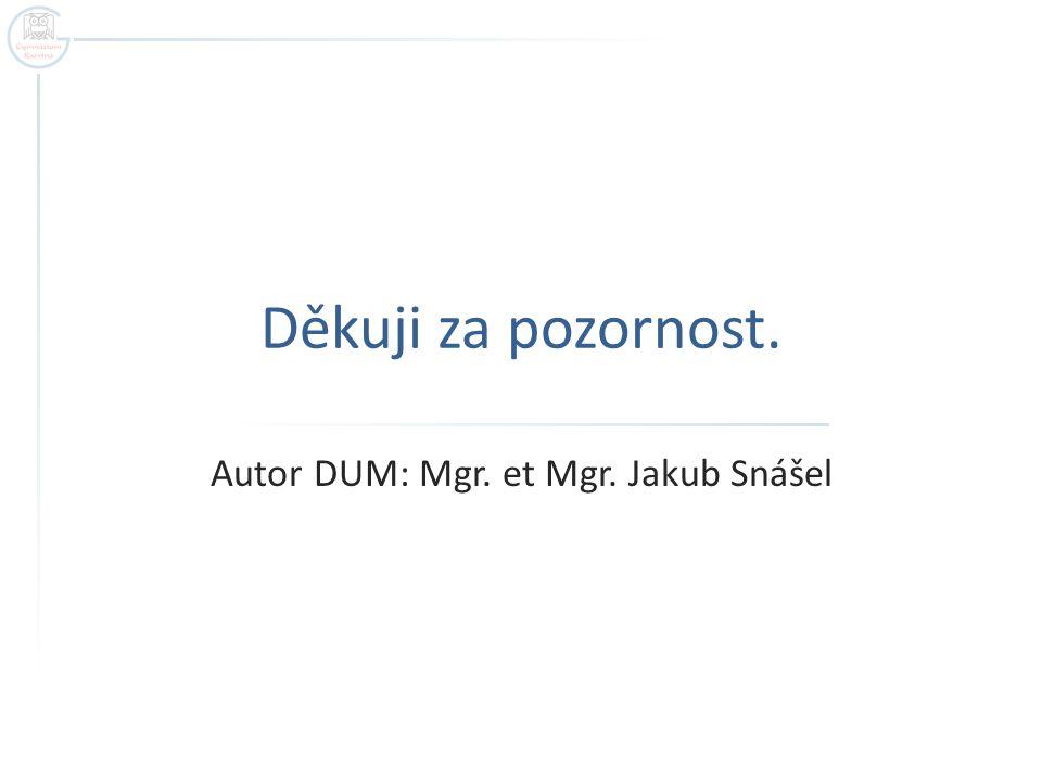 Autor DUM: Mgr. et Mgr. Jakub Snášel