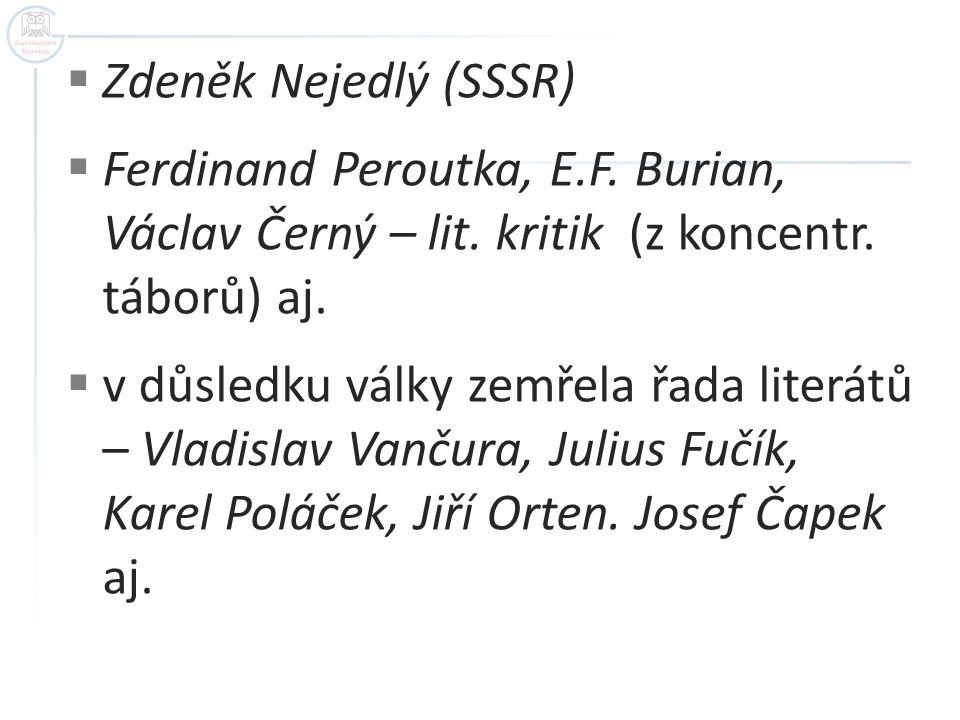 Zdeněk Nejedlý (SSSR) Ferdinand Peroutka, E.F. Burian, Václav Černý – lit. kritik (z koncentr. táborů) aj.