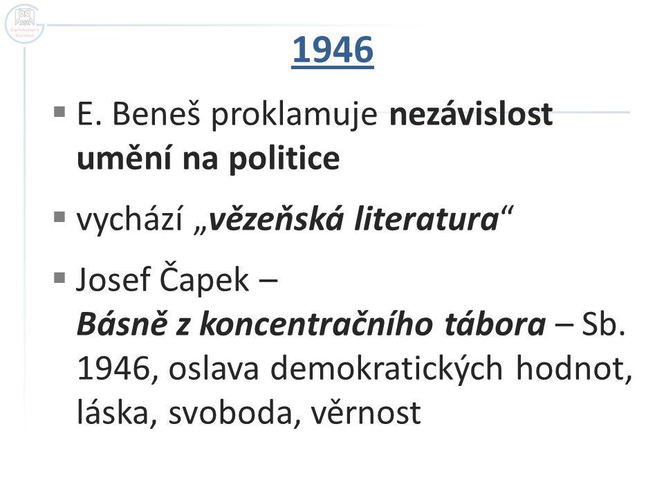 1946 E. Beneš proklamuje nezávislost umění na politice