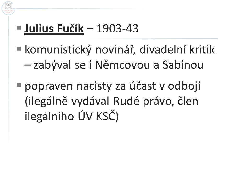 Julius Fučík – 1903-43 komunistický novinář, divadelní kritik – zabýval se i Němcovou a Sabinou.