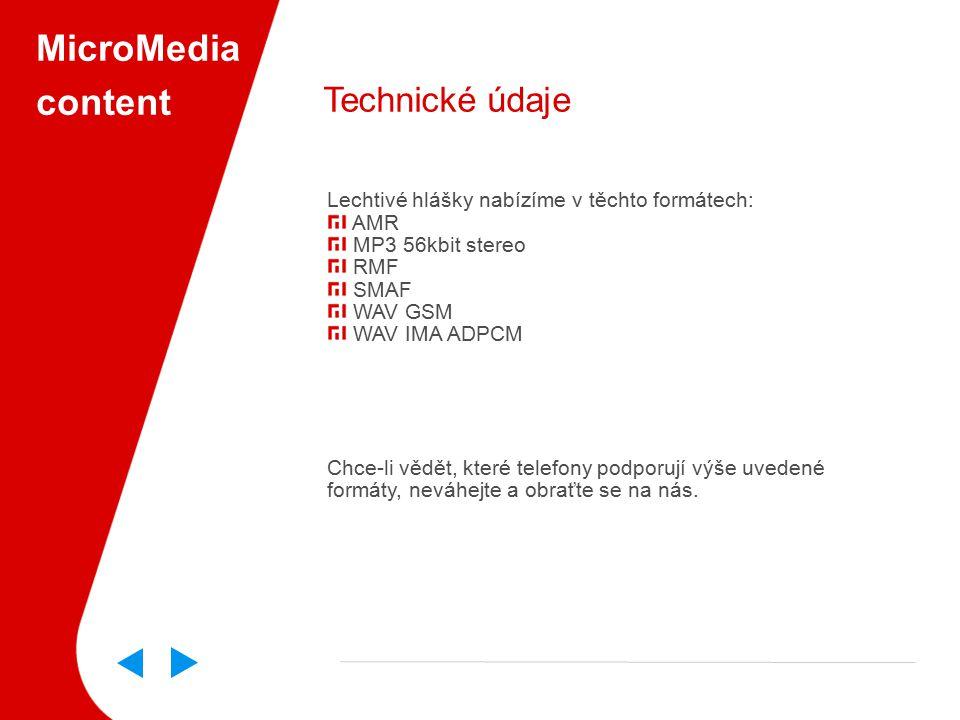 MicroMedia content Technické údaje