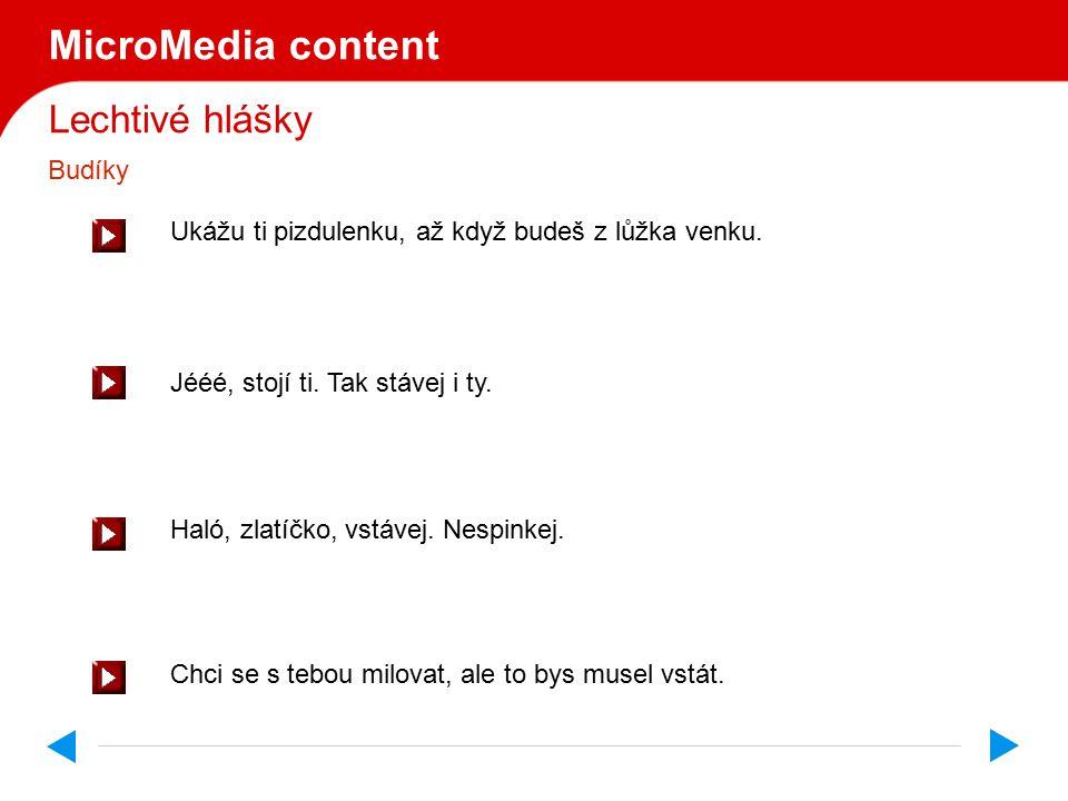 MicroMedia content Lechtivé hlášky Budíky