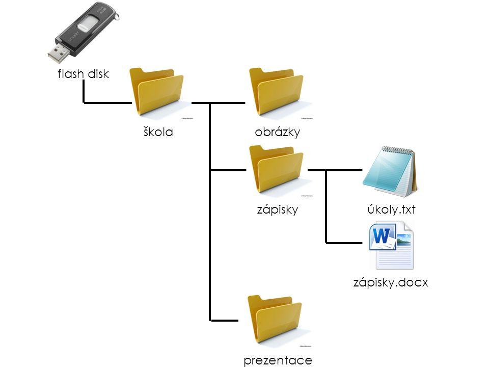 flash disk škola obrázky zápisky úkoly.txt zápisky.docx prezentace