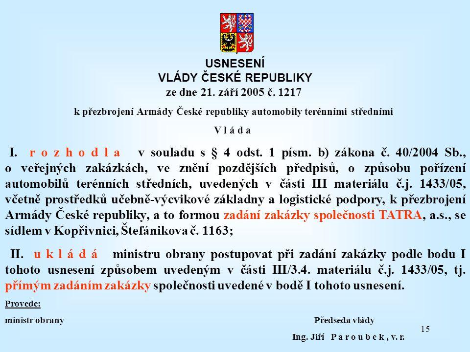 k přezbrojení Armády České republiky automobily terénními středními