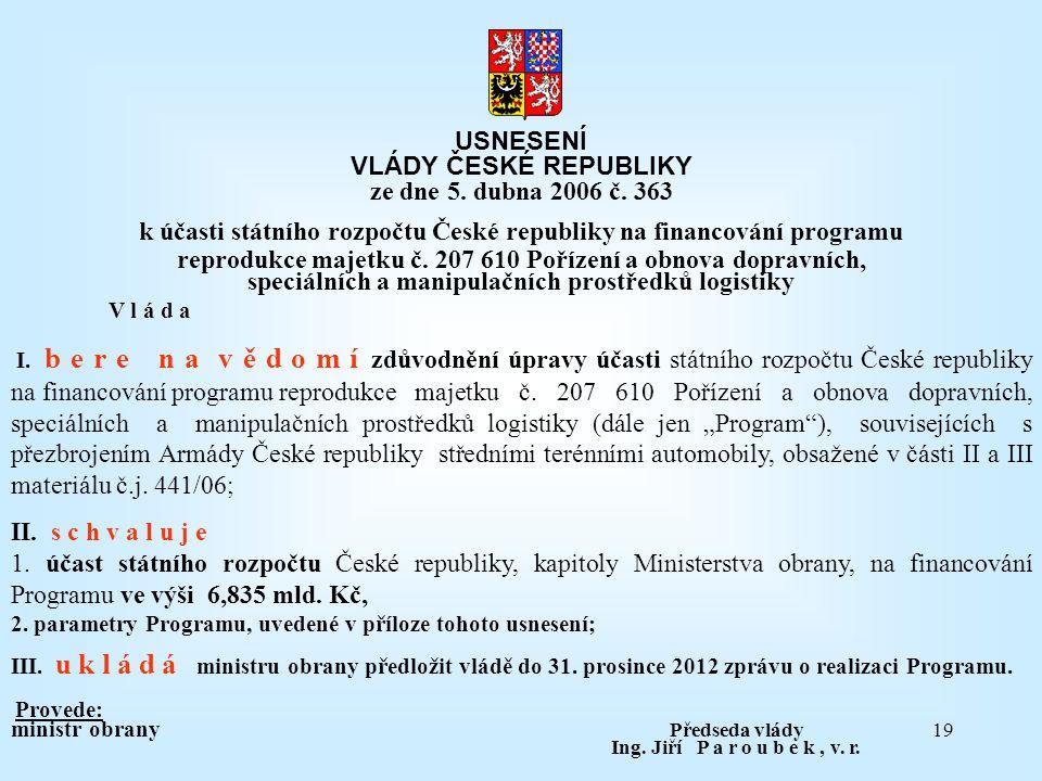 k účasti státního rozpočtu České republiky na financování programu