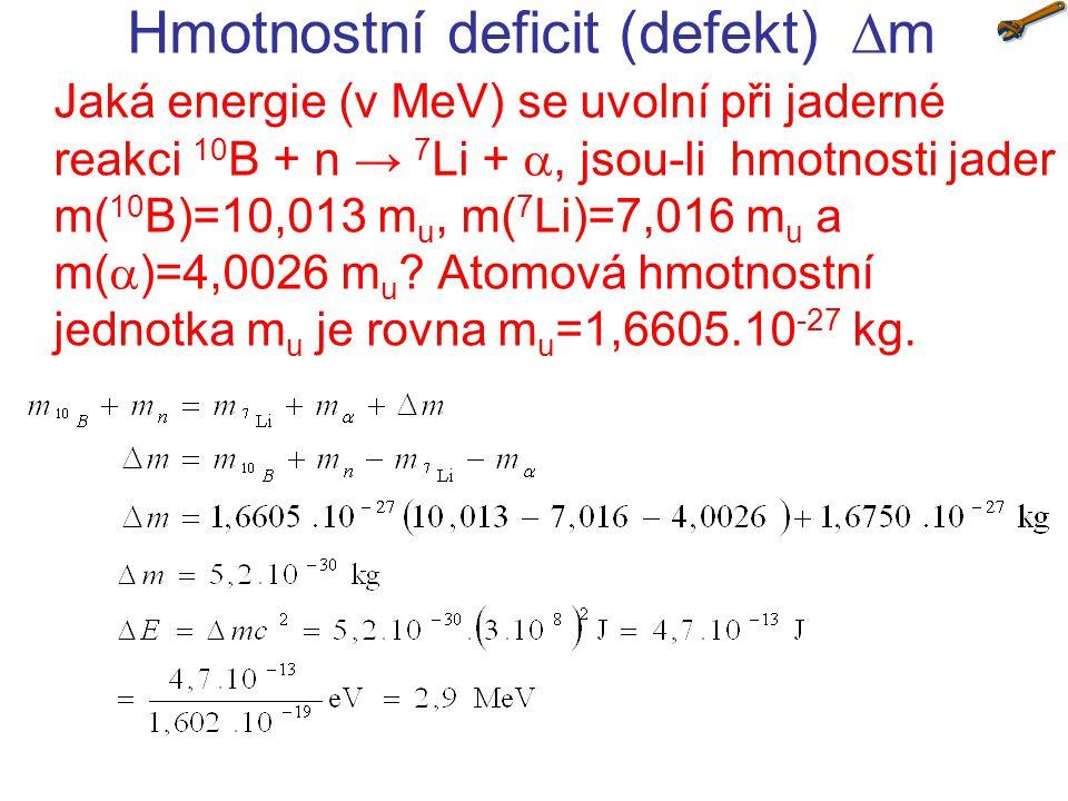 Hmotnostní deficit (defekt) m