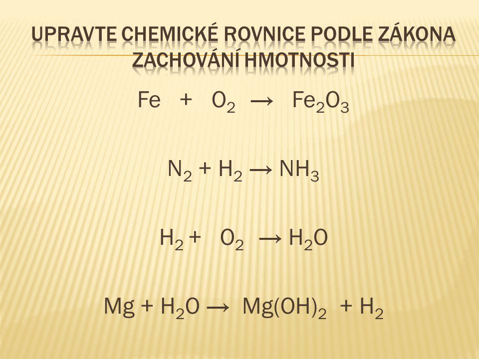 UPRAVTE CHEMICKÉ ROVNICE PODLE ZÁKONA ZACHOVÁNÍ HMOTNOSTI