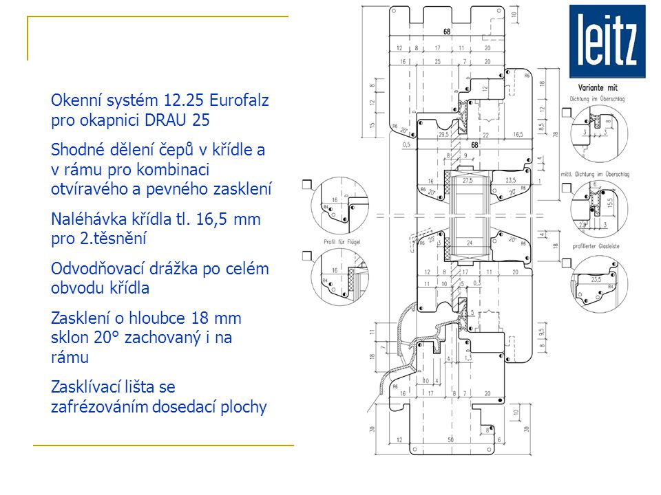 Okenní systém 12.25 Eurofalz pro okapnici DRAU 25