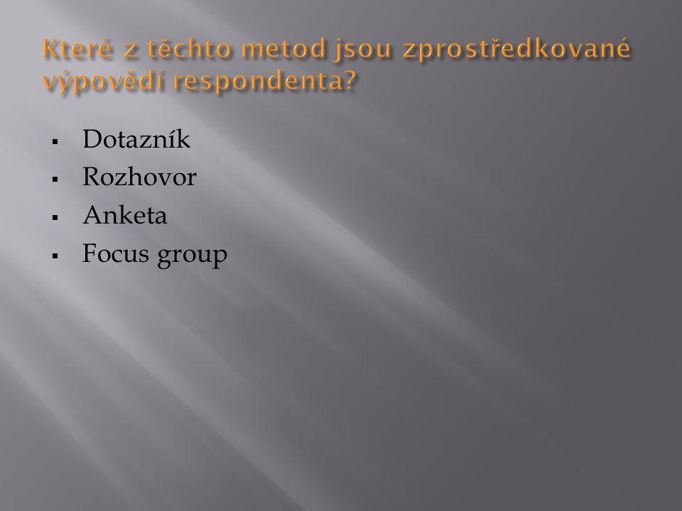 Které z těchto metod jsou zprostředkované výpovědí respondenta