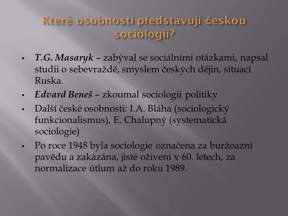 Které osobnosti představují českou sociologii