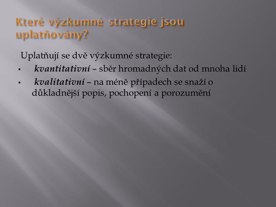 Které výzkumné strategie jsou uplatňovány