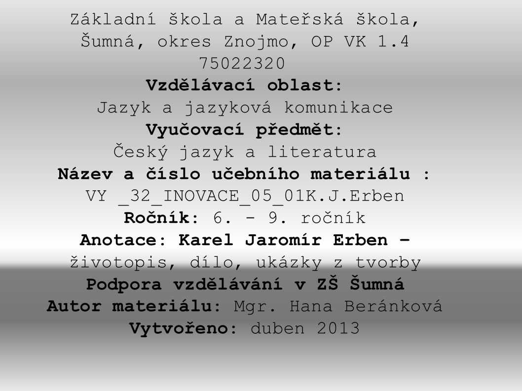 VY _32_INOVACE_05_01K.J.Erben