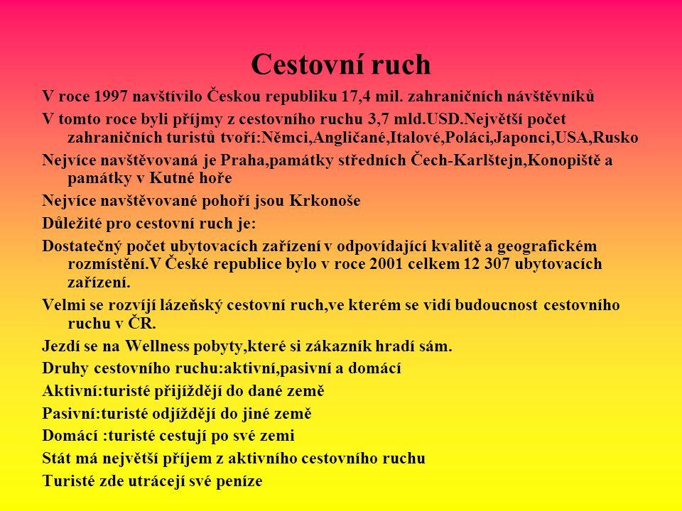 Cestovní ruch V roce 1997 navštívilo Českou republiku 17,4 mil. zahraničních návštěvníků.