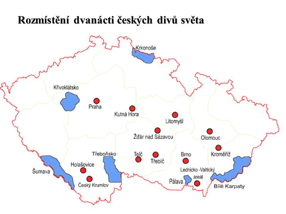 Rozmístění dvanácti českých divů světa