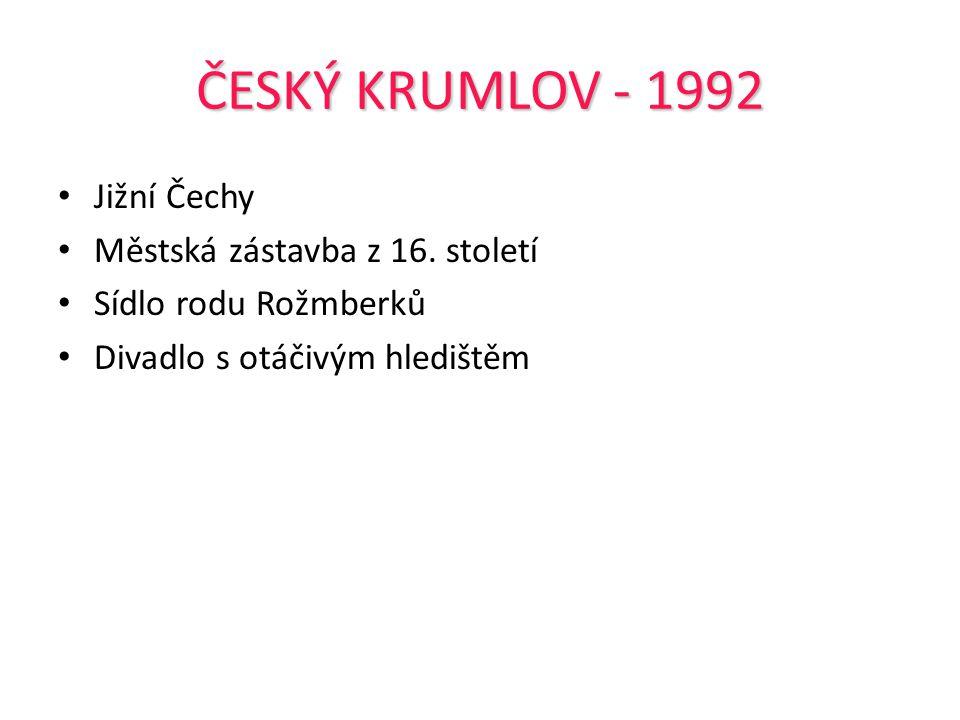 ČESKÝ KRUMLOV - 1992 Jižní Čechy Městská zástavba z 16. století