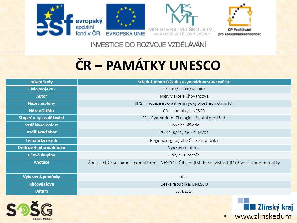 ČR – PAMÁTKY UNESCO www.zlinskedumy.cz 79-41-K/41, 16-01-M/01