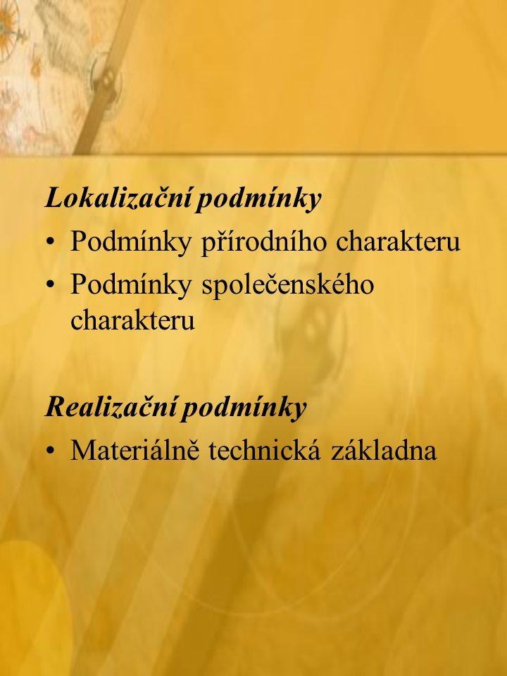 Lokalizační podmínky Podmínky přírodního charakteru. Podmínky společenského charakteru. Realizační podmínky.