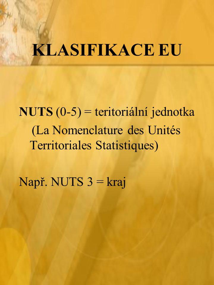 KLASIFIKACE EU NUTS (0-5) = teritoriální jednotka
